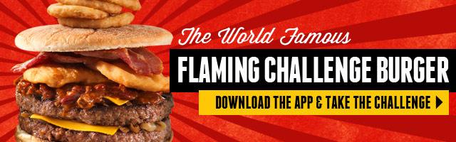 flaming burger challenge