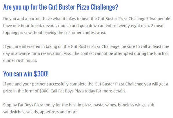 Fat Boy's Gut Buster Pizza Challenge Rules