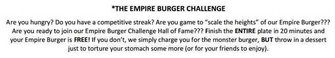 Little Diner's Empire Burger Challenge Rules