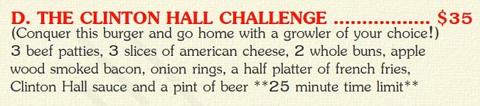 The Clinton Hall Burger Challenge