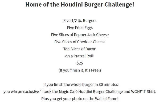 Magic Cafe Houdini Burger Challenge