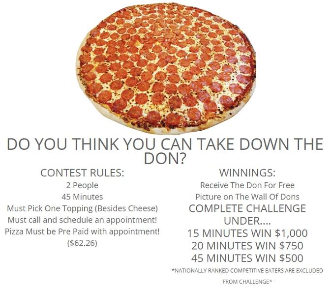 Mamma Mia's Don Pizza Challenge Rules