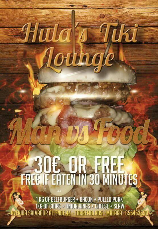 Hula's Tiki Lounge's Man vs Food Burger Challenge