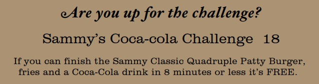Sammy's Coca Cola Burger Challenge Rules