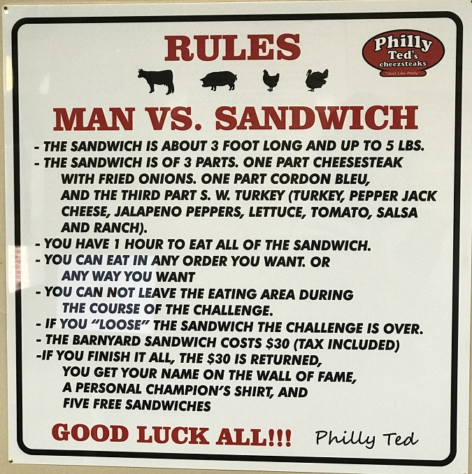 Philly Ted's Sandwich Challenge Rules