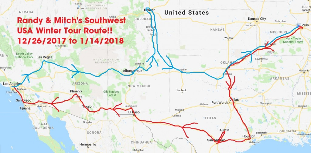 Basic Route of Southwest USA Tour