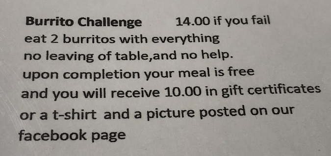 Midtown Burrito Challenge Rules