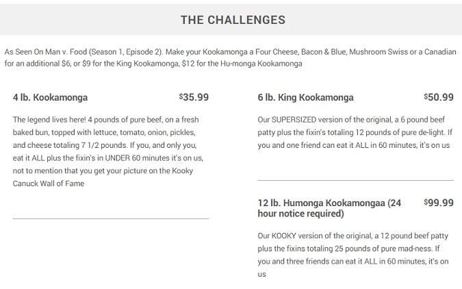 Kooky Canuck Challenge Menu