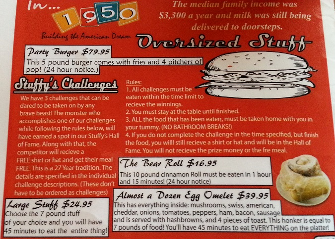 Stuffy's Food Chalenge Menu Description