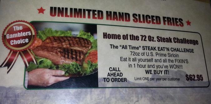 gambler steak menu