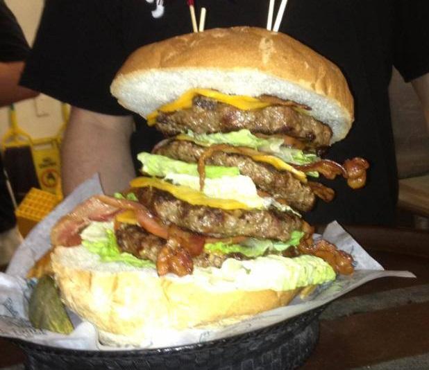 "Brass Balls Saloon's ""Biggest Balls of Them All"" Burger Challenge - FoodChallenges.com - FoodChallenges.com"