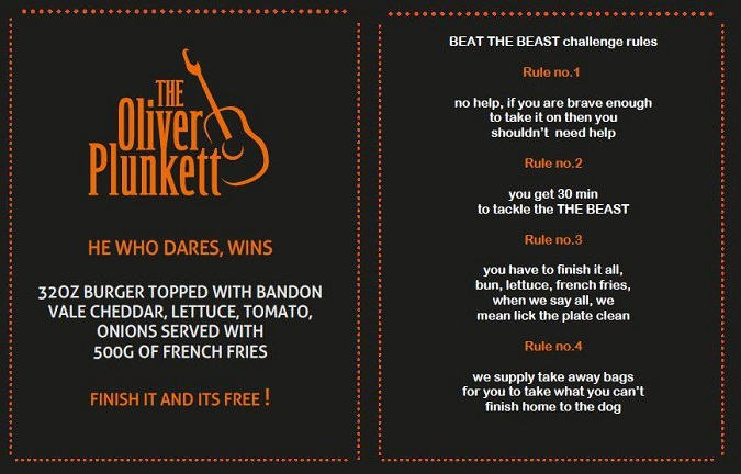 The Oliver Plunkett's 32oz Burger Challenge