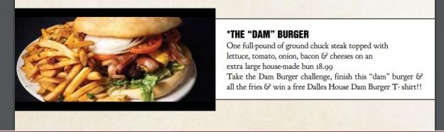 Dalles House Dam Burger Challenge Description